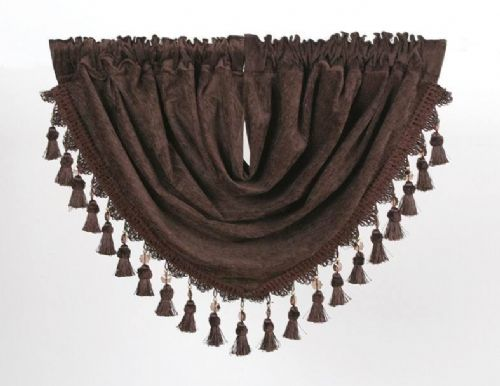 DESIGNER CURTAIN SWAG CHENILLE FABRIC WITH BEADED TASSELS BROWN COLOUR